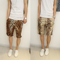 2013 male shorts male slim short trousers leopard print serpentine pattern capris k114