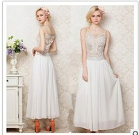 2013 summer European and American stars the same paragraph, chiffon embroidered white dress