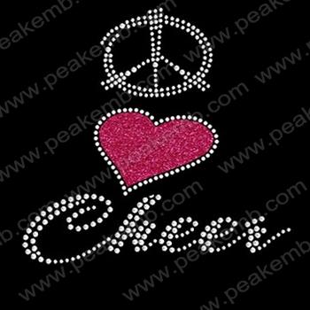 Free Shipping 30pcs/Lot Beautiful Peace Love Cheer Glitter Iron Ons Hotfix Rhinestone Transfer Wholesale for Apparel