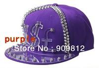 Free Shipping 2013 Punk Style, Currency symbol flat brimmed hat, Crystal rigid sheet rivets hip-hop cap, Snapbacks hats