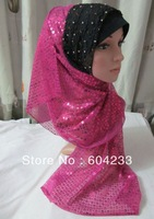 tc244,wholesale free shipping pashmina scarf assorted colors hot selling popluar islamic sequins hijab