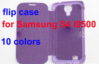 for  S4 i9500 ultrathin flip leather PU case  10 colors free shipping wholesale 10pcs/lot with logo