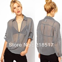Free Shipping summer latest Women Striped lapel long-sleeved V-neck blouse chiffon shirt perspective transparent shirt D-567