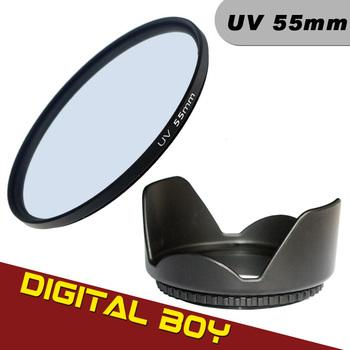 Digital boy 55mm UV Filter kit + 55mm Flower Lens Hood for Sony Alpha A35 A37 A55 A57 A65 Send Clean cloth Free Shipping