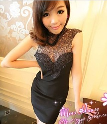 Free Shipping! 2013 New Women's Nightclub Style High-Necked Lace Stitching Chest Wrapped Sleeveless Dress In Stock(China (Mainland))