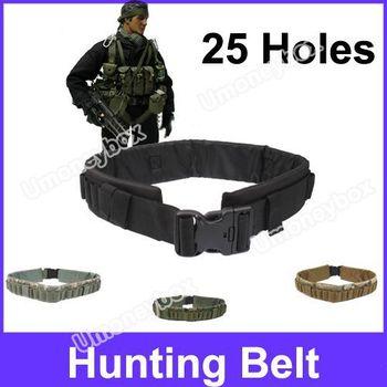 25 Holes Rifle Bullets Elastic Cartridge Holes 2-Strap Designed Hunting Belt(Black)