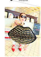 Free shipping--2013 new European and American rivet kiss lips chain shoulder hand bag, fashion tote bag ladies handbag