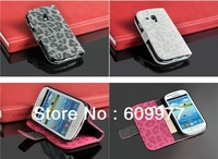 Free Shipping Faddist Leopard leather case wallet pocket case with ID credit card slots for Samsung I8190 Galaxy S3 SIII mini