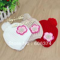 Children Knitted Hat Flower Winter Baby Girls Beanies Kids Linecaps Baby Hat Headwear 10pcs/lot BH0917
