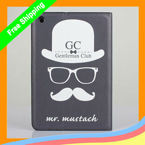 MOQ: 1Pcs Gentleman Club moustache Leather Case for iPad Mini ,For ipad mini GC leather case Free Shipping(China (Mainland))