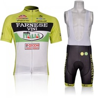 Free shipping! 2013 New arrival FARNESE Yellow Team Cycling short sleeve/Bike jersey+ bib shorts