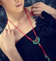 2014 Summer new arrival long design vintage turquoise beads hollow out brozen necklace drop