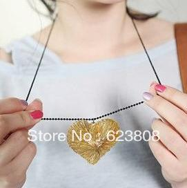 Waste waste force rare jewelry - the braided heart-shaped hollow pendants / neck h000145 Free shipping(China (Mainland))