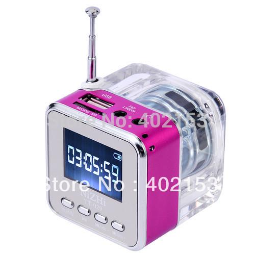 TT-029 NEW Micro SD/TF Music MP3/4 Player Mini Speaker digital USB Disk FM Radio Rose Red Wholesale,Free Shipping,#160479(China (Mainland))