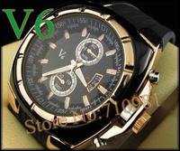 Free Shipping!!2013 New Arrival Fashion Round Dail 1pc  Mens Luxuary Watches, Quartz Men Brand New V6 Super Speed LLW-V1002-1