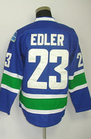 #23 Alexander Edler Men's Authentic Home Blue Hockey Jersey