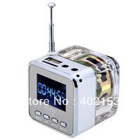 TT-029 NEW Micro SD/TF Music MP3/4 Player Mini Speaker digital USB Disk FM Radio White Wholesale,Free Shipping,#160476