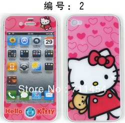 Hot selling 4 Seasons Cute Colorful Carton Front+Back Screen Protector For iphone 4 4s Free shipping(China (Mainland))