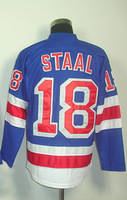 #18 Marc Staal Men's Authentic Home Blue Hockey Jersey