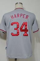 #34 Bryce Harper Men's Authentic Road Grey Cool Base Baseball Jersey