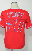 #27 Mike Trout Men's Authentic Alternate Red Cool Base Baseball Jersey