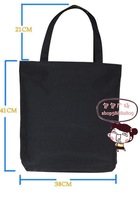 Diy canvas bag canvas bag black vertical 38 41cm