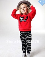 2013 Children's Clothing Spring Sport suits Autumn twinset Fashion kids boys girls sets Child velvet shirt+striped pants
