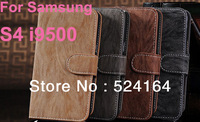 New Walllet leather case cash card bark pattern case for GALAXY S4 I9500 5 colors free shipping 10pcs/lot