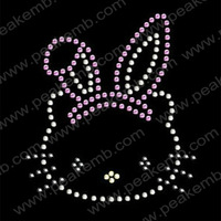 30pcs/Lot Lovely Hello Kitty Features Easter Bunny Ear Hairband Rhinestone Hot Fix Motif Free Shipping and Fast Turnround