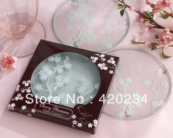 Cherry Blossoms Frosted Glass Coasters Wedding Favor centerpiece  wedding accessories party  wedding decor