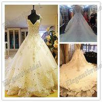 2013 Limited Cap Sleeve Swarovski Crystal Luxury Royal New Design Sparkling Sexy Wedding Dress bride Long Train Wedding Gowns