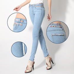 2013 new women's fashion jeans pencil pants printed belt lady Slim was thin tide pants 785 #(China (Mainland))