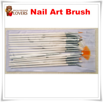 Wholesale 15 Pcs Nail Art Design acrylic brush UV Gel Set Painting Draw Pen white Handle Brush Tips Tool