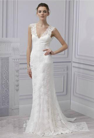 Sheath Wedding Dresses 2013 White Lace Applique V-neck Monique Lhuillier Bridal Dress Gown(China (Mainland))