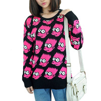 2014 Bart Simpson Pullover cartoon sweater women fashion vintage loose outerwear  Top three colour Free shipping WS-017