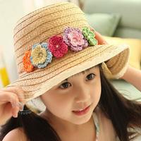 2013 child summer hat flower sunbonnet female child beach hat sun hat