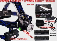 New High 1600 Lumen CREE XM-L T6 LED Bicycle bike HeadLight Lamp Flashlight Light Headlamp+2*4000mah 18650 battery + charger