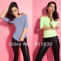 dresses new fashion 2014 womens tee European style striped casual sport shirt tops Autumn half sleeve women t-shirt