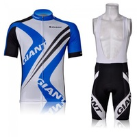 Wholesale 2013 NEW GIANT Blue cycling team short sleeve and bib pants US cycling clothing XS~4XL free shipping