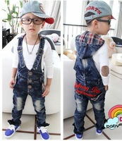 top quality baby jeans  girl/boy strap denim overalls spring infant trousers with hats