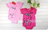 2color 3pcs/lot lovely Cartoon KT cat lace romper baby girl romper baby clothing baby wear 130508s free shipping