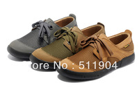 summer breathable cowhide skateboarding shoes brown army green grey size 39-44