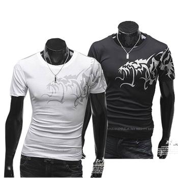 Free shipping 2013 t shirt chinese style wolf t-shirt men's slim round neck short-sleeve T-shirt male