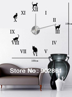 [funlife]-Large Mental 3D Big Size Black Cat Home Decor Sticker Wall Clock (movement included)