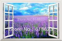 HD Pattern Simulation Lavender Manor  window sticker 70*46cm sofa background bedroom pvc wall sticker  FJ-284