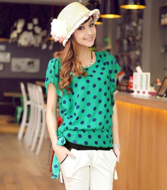 2013 Summer new women Polka Dot Butterfly Sleeve short-sleeved shirts O-Neck chiffon Yellow/Green/Black/Orange Color(China (Mainland))