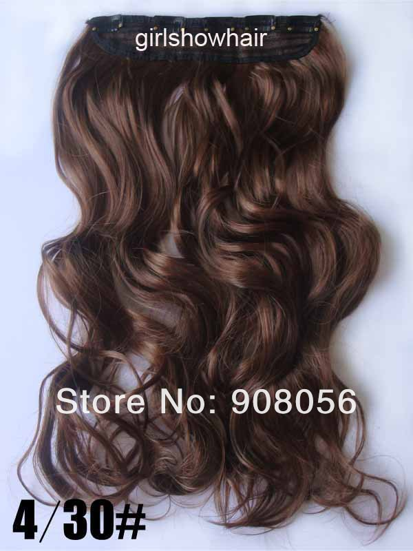30s colors high quality low price 5 clips wavy hairpieces,one piece attached for full head, hair extension,55cm to 60cm, wigs(China (Mainland))