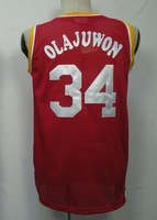 #34 Hakeem Olajuwon Men's Authentic Road Red Throwback Basketball Jersey