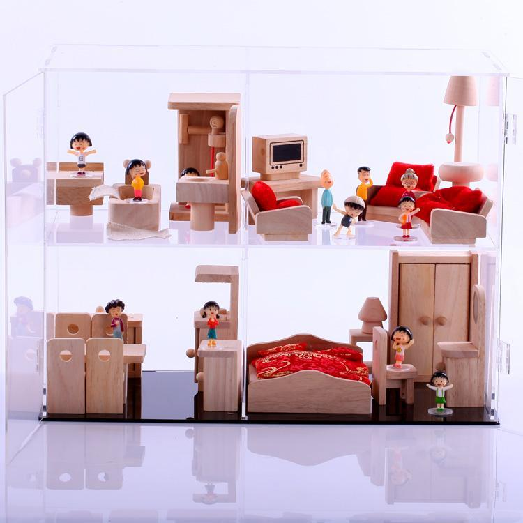 Acrylic diy furniture doll model display box transparent cabinet(China (Mainland))