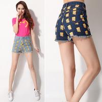 New 2014 Spring Summer Fashion Simpson Print Pattern Hight Waist Ripped jeans Hot shorts Denim shorts For Wpman Girl 79716